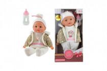 Panenka miminko v zimním oblečku měkké tělo s lahvičkou plast 30cm 24m+