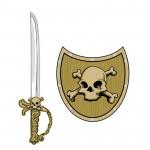 Meč a štít Pirat lebka