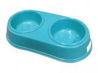 miska pro psa dvojitá 26,5x12,5cm plastová - mix barev