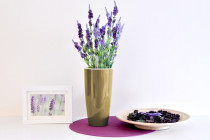 Vypěstuj si levanduli, samozavlažovací květináč zlatý 12 / 23 cm, Domestico