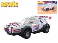 EDUKIE stavebnice auto závodní bílé na zpětný chod 102 ks + 1 figurka