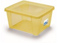 box úložný SCATOLA 2l, 19x16x10cm s víkem plastový, ŽL, RŮŽ