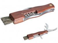 nůž na houby zavírací se štětečkem + otvíráky, dřevěná rukojeť