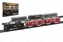 Vlak + 5 vagónů s kolejemi plast 140x68cm na baterie se světlem - VÝPRODEJ