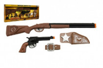 Kovbojská sada kolt pistole puška klapací + šerifská hvězda s doplňky 50cm plast