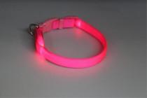 Obojek nylon svítící s plast. dutinkou růžový B&F 1,50 x 38-48 cm