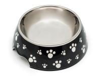 Melaminová miska pro psy a kočky, dvoudílná, protiskluzová, motiv tlapka, Domestico