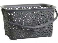 košík na kolíčky MONAKO 23,5x15,5x13cm plastový, ŠE metalíza