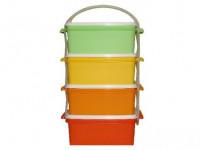 jídlonosič 4x1,2l hranatý 17x15x25cm plastový - mix barev - VÝPRODEJ