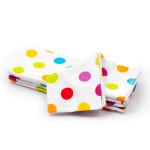Dětská plena 70x80 cm, bavlněná flanelová, bílá s barevnými kolečky, 5 ks, Cuculo - VÝPRODEJ