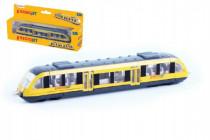 Vlak žlutý RegioJet kov/plast 17cm na volný chod