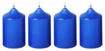 Svíčka adventní 40x60 mm - modrá - 4 ks