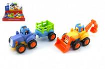 Traktor/Buldozer plast 15cm pro nejmenší na setrvačník - mix variant či barev