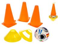 Fotbalové kužely 4 ks + mety 4 ks s míčem