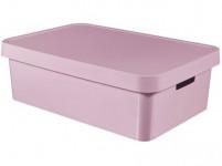 box úložný INFINITY 56,2x38,5x18cm s víkem, plastový, RŮŽ - VÝPRODEJ