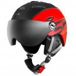 Spokey MONTANA lyžařská přilba s čelním sklem, černo-červená, vel. L/XL