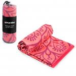 Spokey MANDALA Rychleschnoucí plážový ručník, lososový, 80x160 cm