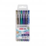 Metal gelové pero - mix barev - 6ks/sada - VÝPRODEJ