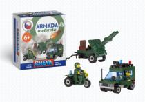 Stavebnice Cheva 45 Jeep vojenský s dělem plast