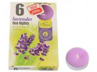svíčka čajová vonná LEVANDULE (6ks) (hoří 6x3-4hod)