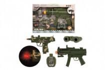 Sada pistole 2ks + doplňky plast na baterie se zvukem se světlem