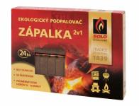 Podpalovač SOLO ZÁPALKA 2v1 dřevitý + škrtátko 24ks