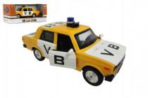Auto veterán policie VB Lada 1600 VAZ 2106 1:32 kov 12cm na baterie se světlem se zvukem