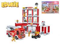 EDUKIE stavebnice hasičská stanice a auto 508 ks + 6 figurek