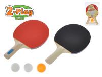 Sada na stolní tenis 2-Play pálky dřevěné 25 cm 2 ks + míčky 3 ks