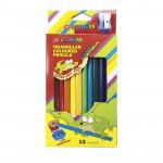 Trojhranné pastelky Jumbo 12 ks s ořezávátkem nelámavé