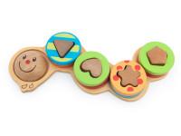 Housenka - navlékací dřevěná montessori hračka