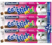 Vitakraft Stick mini cat - treska + tuňák 18 g, 3 ks