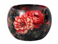 Obal na květník MANES ROSA keramický černý lesklý d16x16cm - VÝPRODEJ