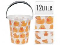 vědro 12l s výlevkou plastové, dekor KAČENKY, RYBY - mix variant či barev