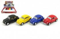 Auto Kinsmart VW Classical Beetle kov 13cm na zpětné natažení - mix barev