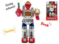Robot česky mluvící 28 cm chodící na baterie se světlem a zvukem