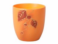 Obal na květník KODET LEAVES 2 oranžový matný d20x22cm