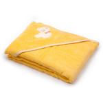 Dětská osuška s kapucí 100x100 cm, froté žlutá s medvídkem, Cuculo - VÝPRODEJ