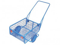 vozík RAPID V, plochá obruč, komaxit, 450x640x280(1320) mm