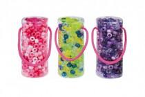 Korálky plast se šňůrkou v plastové doze 4,5x11cm - mix barev