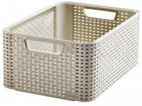 box úložný RATTAN 39x29x17cm (M), STYLE2, plastový, KRÉM