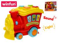 Lokomotiva edukační 21 cm na baterie se světlem a zvukem zvířátek - VÝPRODEJ