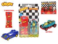 Cosby autíčko 7,5 cm na zpětný chod s cukrovinkou na kartě - 12 ks - mix variant či barev