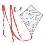 Létající drak Color&Fly, drak a fixy na vybarvení, červený, Cuculo