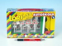 Stavebnice LORI 11 Autoškola Dopravní značky 16ks+2 kužely+auto plast