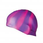 Spokey Abstract plavecká čepice silikonová fialovo-růžové pruhy