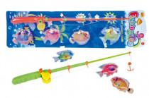 Hra ryby/rybář magnetické plast 4ks+prut plast 44cm - mix barev