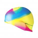 Spokey Abstract plavecká čepice silikonová žluto-modro-růžová