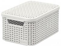box úložný RATTAN 29x20x14cm (S) s víkem, STYLE2, plastový, KRÉM