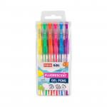 Fluo zvýrazňovací gelová pera - neónové barvy - mix 6ks/sada